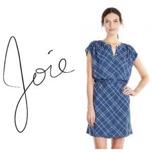 Soft Joie Verity Dusty Indigo blue Plaid Dress L